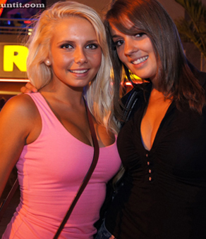 Two English hotties in Linekers Bar are asked to pose for UGotItFlauntIt - The Girls agree to take the Flaunt It! Challenge